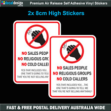 Do Not Knock No Sales People Cold Callers Religious Groups Sticker x2 #N005