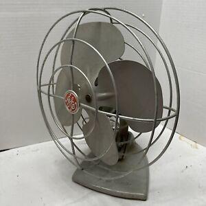 """VTG General Electric GE Oscillating 10"""" Blue Desk Fan 1950s Tested Working"""