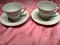 Schirnding Bavaria. Set of 4 cups and saucers. Excellent condition. White/floral