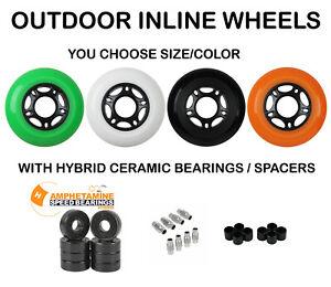 Replacement Rollerblade Inline Skate Wheels Outdoor Asphalt + Ceramic Bearings