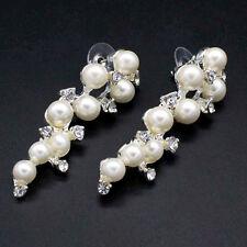 Long Crystal Drop Earrings Diamante Bridal Pearl Rhinestone Silver Dangle Party