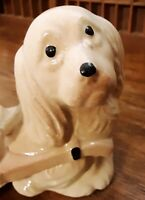 Vtg Planter Spaniel Puppy Dog Pulling Cart Ready for Your Spring Flowers