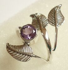 Size US 7 1/2 (O 1/2) 925 Sterling Silver Genuine Faceted Purple Amethyst Ring