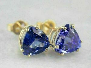 18K Yellow Gold Over 4Ct Trillion Blue Tanzanite Women's Stud Push Back Earrings