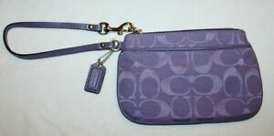 Coach Lavender Purple Wristlet Clutch Purse Signature Collection Jacquard NEW