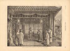 1873 Antiguo impresión la vida en China-mandarín recibir un visitante