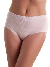 6 Pack Ladies 100 Cotton Ribbed Briefs Mama Knickers Pants Size 10-34 Xxxxos 24-26 Pastels