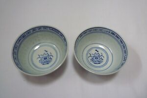set of 2 traditional authentic Chinese soup bowls Made in China