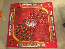 Rare Limited Hermes Cashmere/Silk Shawl Neige D'Antan 35 Inches Red Xmas Theme