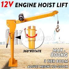 Electric Hoist 800kg Winch Crane 12V 360 Degree Engine Car Truck Lift High AU