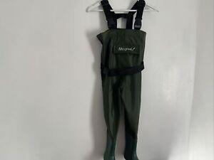 Kids Boys Girls Army Green Chest Waders Waterproof UK Shoe Size 10 B121