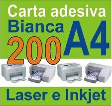 Carta Adesiva A4 bianca 200 fogli