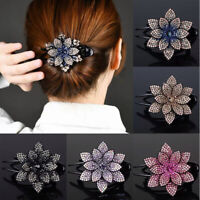 Women Vintage Headwear Hairpin Hair Clips Hair Claws Flower Rhinestone Makeup uk