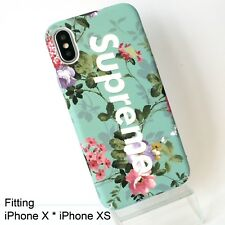 Supreme Matte Green Floral Hard Case Cover for iPhone X / XS Glow in Dark