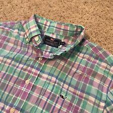 Vineyard Vines Mens Short Sleeve Button Front Plaid Green Tucker Shirt Medium