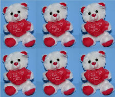 "6-pieces Valentine 7"" Stuffed Animal Plush Teddy Bear I Love You White Red Heart"
