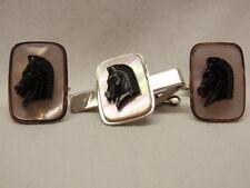 Retro Cufflink Tie Bar Set MOP Horse Head Chess Piece Silver 1960s Swing Toggle