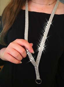 """Silver Faux Rhinestone Lanyard Badge Key ID Holder Washable White Nylon 1/2"""""""