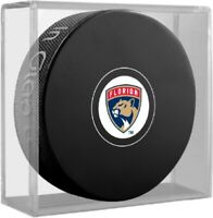 Florida Panthers NHL Team Logo Autograph Souvenir Hockey Puck in Display Cube