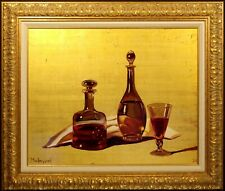 "Michael Huggins ""2 Wine Carafes and Glass"" Original Oil Painting gold leaf"