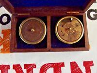 Ancien Coffret Instrument de mesure Précision Marine Marin Heure,jours,mois boat