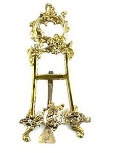 """Vintage Solid Brass Ornate Book/Recipe/Picture/Art Holder Stand Easel 6 """""""