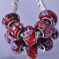 5Pcs Silver Filled Murano Glass Beads Lampwork Fit European Charm Bracelet