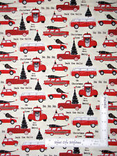 Christmas Around Town Truck Car Tree Cream Cotton Fabric Studio E By The Yard