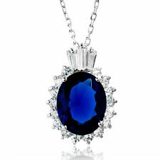 OVAL NECKLACE PENDANT W/ LAB DIAMONDS & SAPPHIRE / 925 STERLING SILVER / 18''