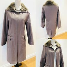Ladies Collection DEBENHAMS Long Coat Jacket Size 12 Pockets Faux Furr Neckline