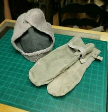 Original Swiss army winter cap & canvas mittens military wool cold weather hat