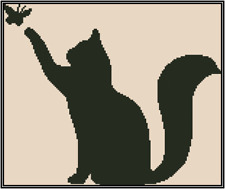 Cat with Butterfly Silhouette Counted Cross Stitch Complete Kit No.35-8