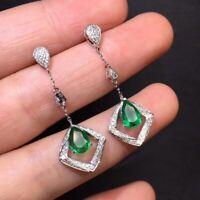 Vintage 14k White Gold Over 2.80Ct Emerald & Diamonds Long Drop Dangle Earrings