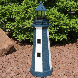 "Sunnydaze Blue Striped Solar LED Nautical Lighthouse Outdoor Light Decor - 36"""