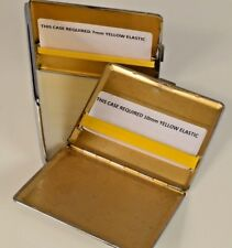 REPLACEMENT YELLOW ELASTIC KIT SILVER CIGARETTE CIGAR CASE IN 3 WIDTHS & 2 CLIPS