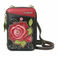 New listing New Chala Wallet Crossbody Pleather Organizer Cell Phone Small Bag Rose Black