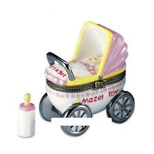 """MAZEL TOV-""""IT'S A GIRL"""" BABY CARRIAGE-Porcelain Hinged-Box- JUDAICA COLLECTION"""