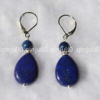 Natural Drop Egyptian Blue Lapis Lazuli Beads Drop Dangle Earrings JE112