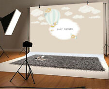 Vinyl Baby Shower Photo Backdrop 7x5ft Cartoon Cloud Hot-Air Balloon Background