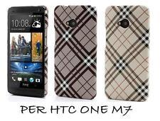 COVER CUSTODIA RIGIDA PER HTC ONE M7  A QUADRI