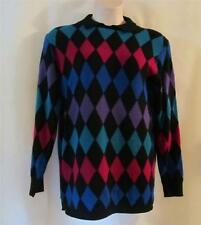 ALFRED DUNNER Black, Turquoise, Fuchsia Multi Diamond Shape Long Sweater - MED