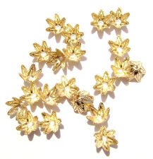 5995FN  Bead Cap, Gold ptd Brass, 7mm for 7 to 9mm bead, Star Flower, 100 Qty