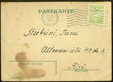 Latvia University Admission Postal Card to New Student 26.6 1940 Rare