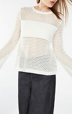 BCBG Joeli Mesh Pulover Crew Neck Off White Knitted Sweater Size Small NWOT $198