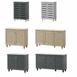 Dark Grey   Sonoma Oak   Grey 2 3 Doors Shoe Storage Cabinet Cupboard ‖ BTAD