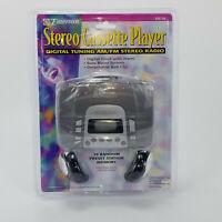 Emerson EW139 Stereo Cassette Player Digital Clock Alarm Bass Boost AM/FM Radio