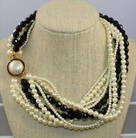 Vintage Carolee 10 Strand Wihite pearl Black glass Choker Statement Necklace