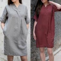 ZANZEA Women Cotton V Neck Summer Short Sleeve Tunic Tops Shirt Mini Dress Plus