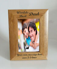 Worlds Best Dad 4 x 6 Wooden Photo Frame  - Personalise this frame - Free Eng