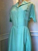 Designer Susan Small 1960/70s Vintage, Green Day Dress With Pockets UK 8-10-12